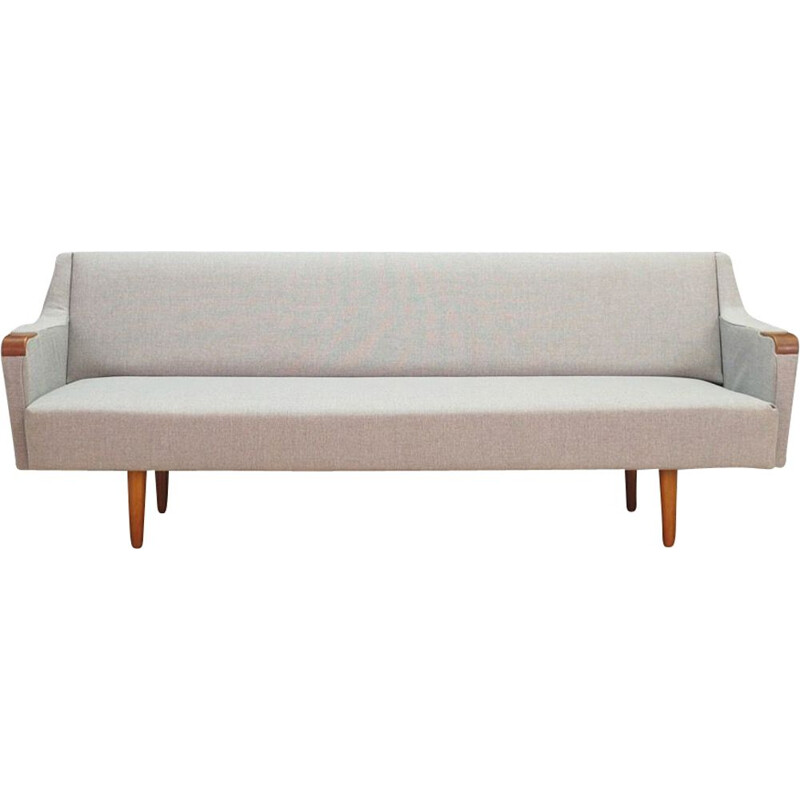 Vintage fabric and teak sofa, Denmark, 1960-1970s