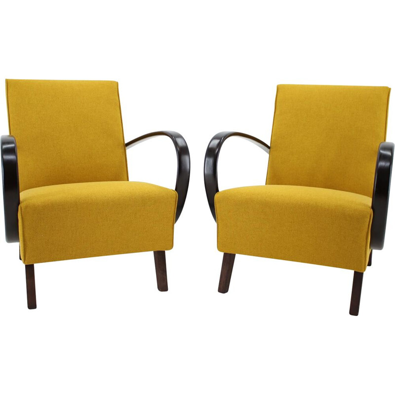 Set of 2 vintage armchairs by Jindrich Halabala, 1950s
