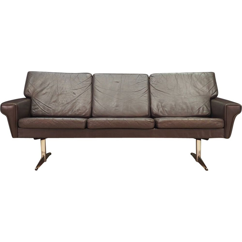 Vintage sofa in brown leather and chrome, 1970-80s