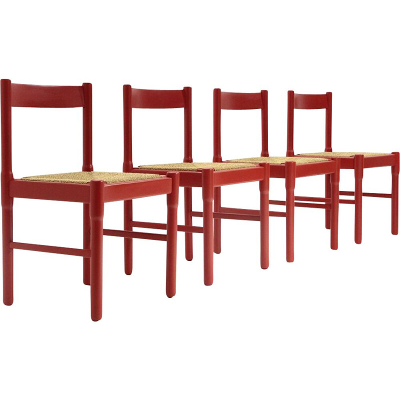 Set of 4 red vintage Carimate chairs by Vico Magistretti for Cassina, 1960s