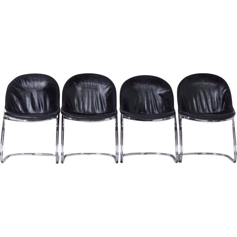 Set of 4 Vintage Sabrina Dining Chairs in Black Leather by Gastone Rinaldi for Thema, 1970s
