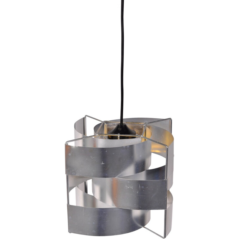 French hanging lamp in aluminum, Max SAUZE - 1960s