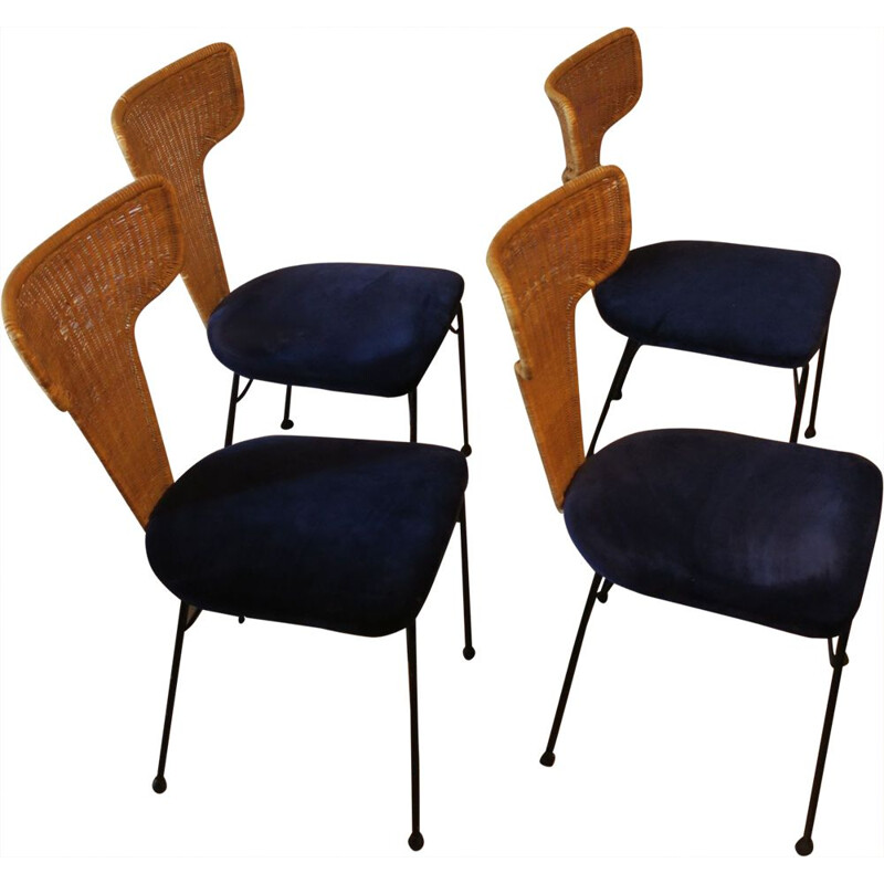 Set of 4 vintage Italian rattan, black metal and blue velvet dining chairs, 1950s