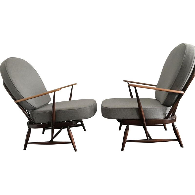 Vintage beech and wool armchair by Ercol, 1960s