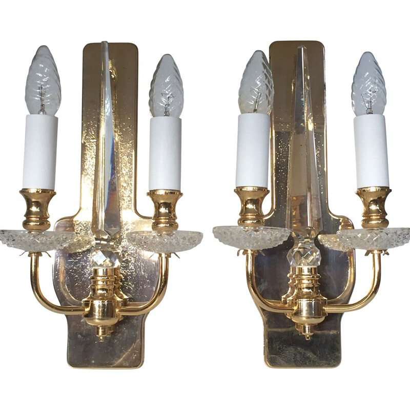 Pairs of vintage brass and crystal sconces by Val Saint Lambert