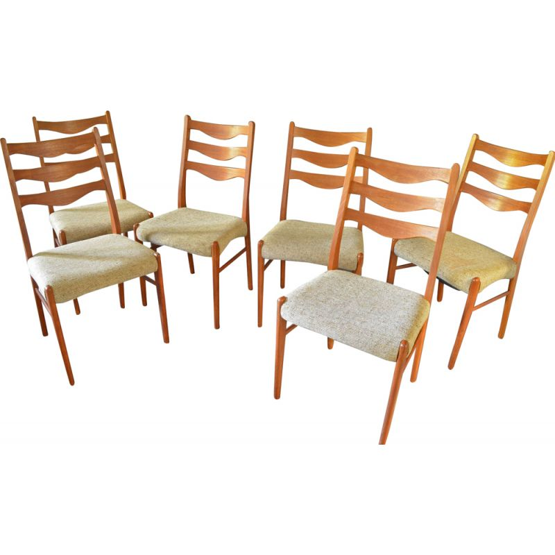 Set of 6 vintage Danish teak dining chairs by Arne Wahl Inversen for Glyngøre Stolefabrik, 1960