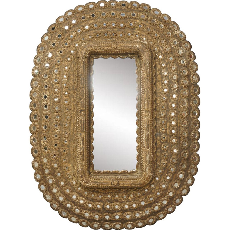 Vintage wooden oval mirror