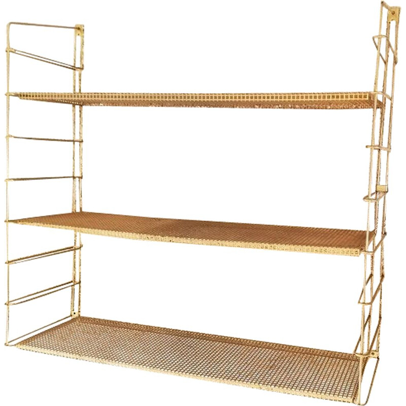 Vintage gold metal wall shelf