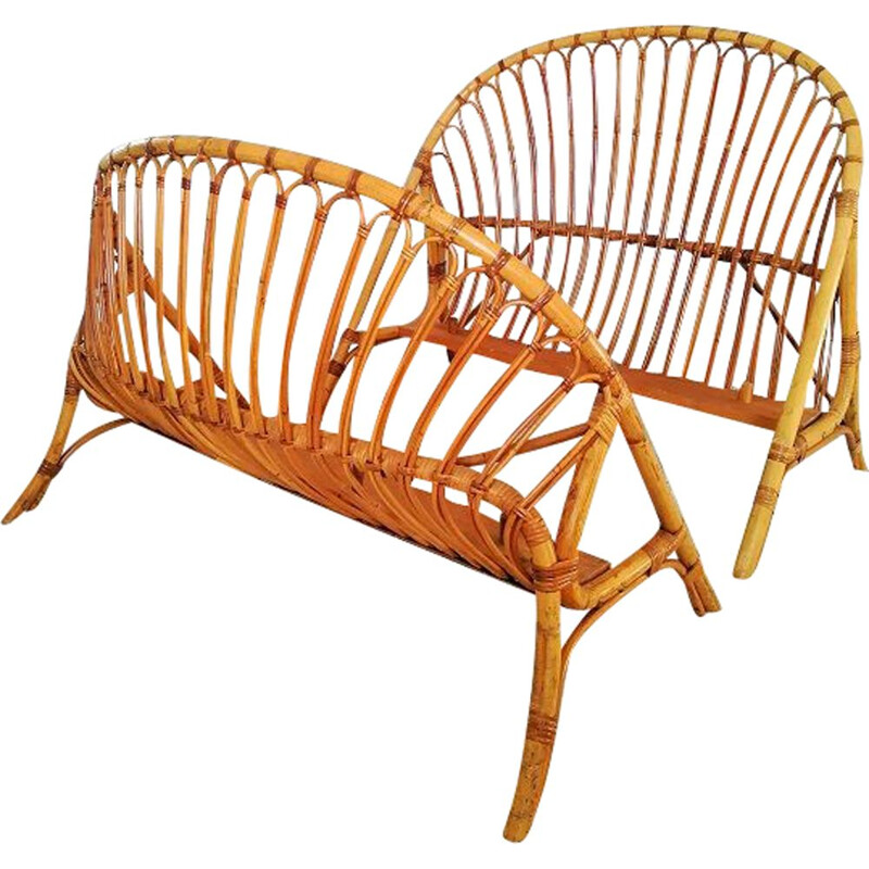 Vintage rattan basket bed