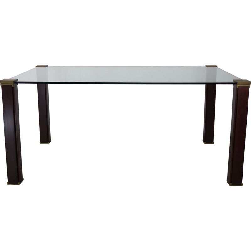 Vintage rectangular glass dining table T66 by Peter Ghyczy