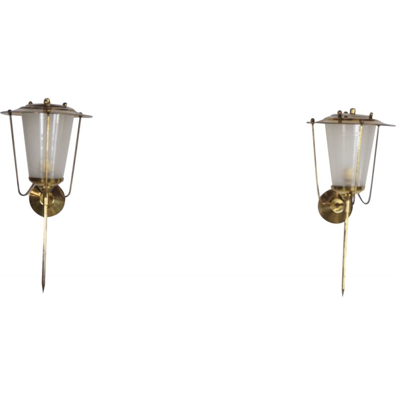 Pair of vintage French brass and glass sconces