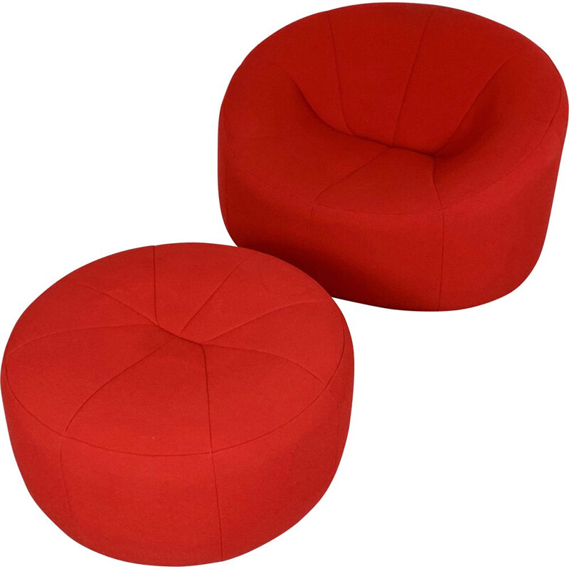 Vintage Pumpkin Lounge Chair plus Ottoman by Pierre Paulin for Ligne Roset, 2008