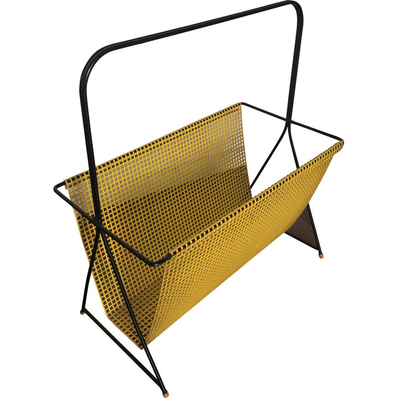 Vintage Dutch Yellow and Black Perforated Steel Magazine Rack by Mathieu Matégot, 1950