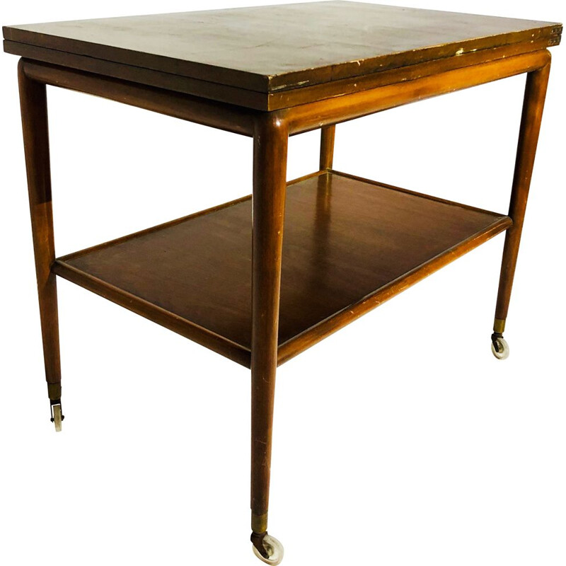 Vintage folding side table in melamine wood
