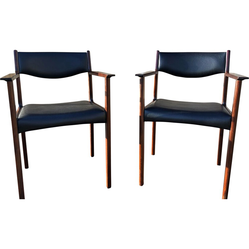 Pair of vintage scandinavian rosewood armchairs by SAX années 60