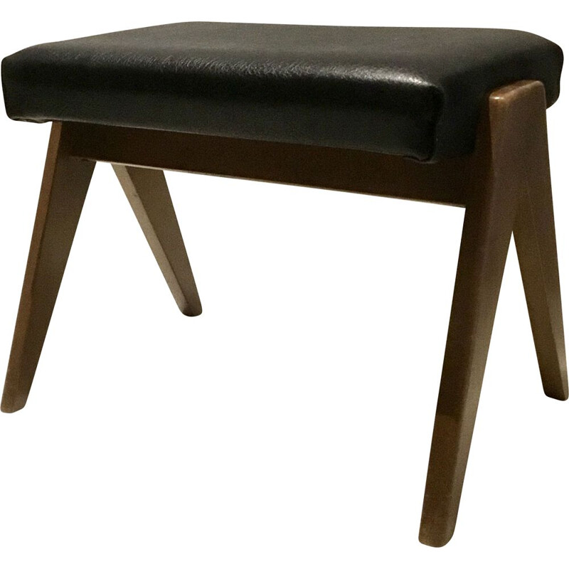 Vintage foot stool in black leatheret 1960