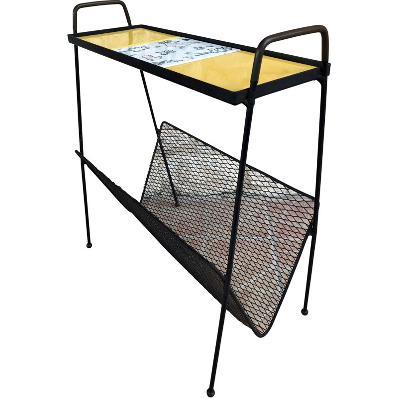 Vintage side table with metal magazine rack, 1960