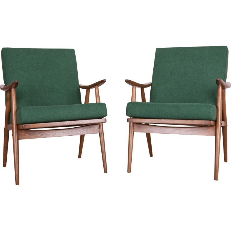 Set of 2 dark green vintage armchairs from Ton, Czech, 1960s