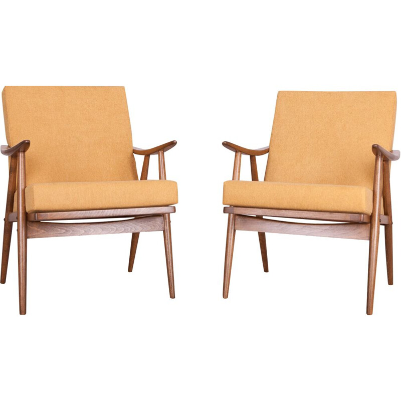 Set of 2 yellow vintage armchairs from Ton, Czech, 1960s
