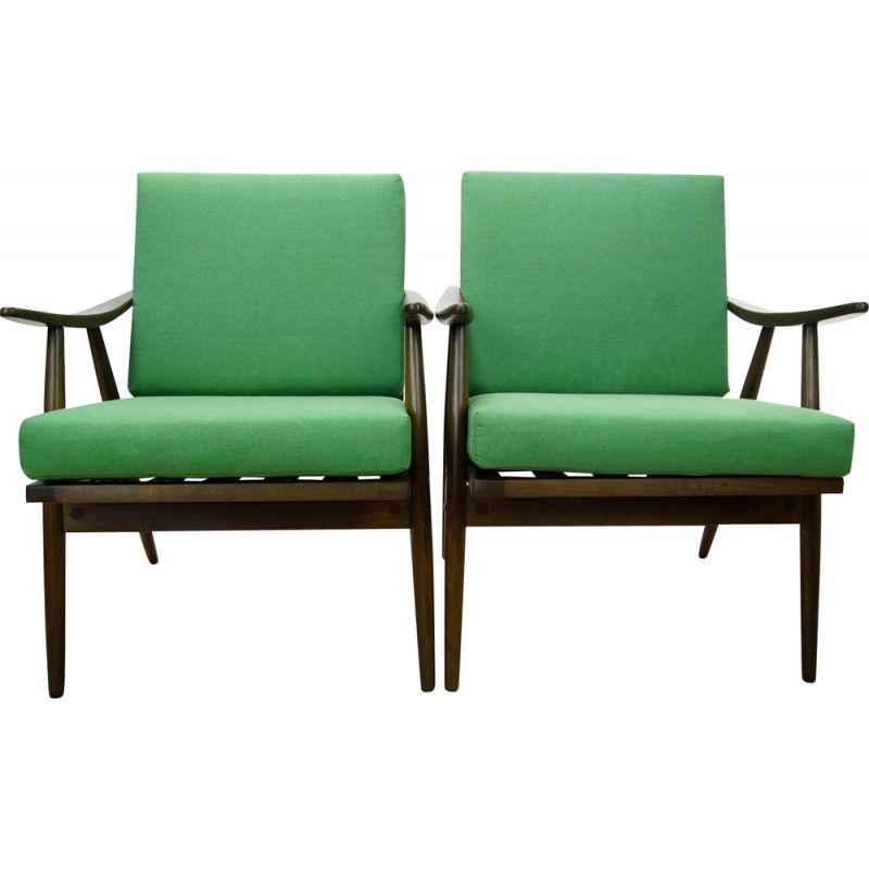 Set of 2 czech green vintage armchairs from TON, 1960s