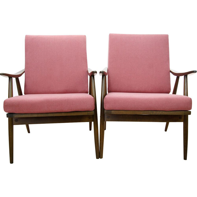 Set of 2 czech pink vintage armchairs from TON, 1960s