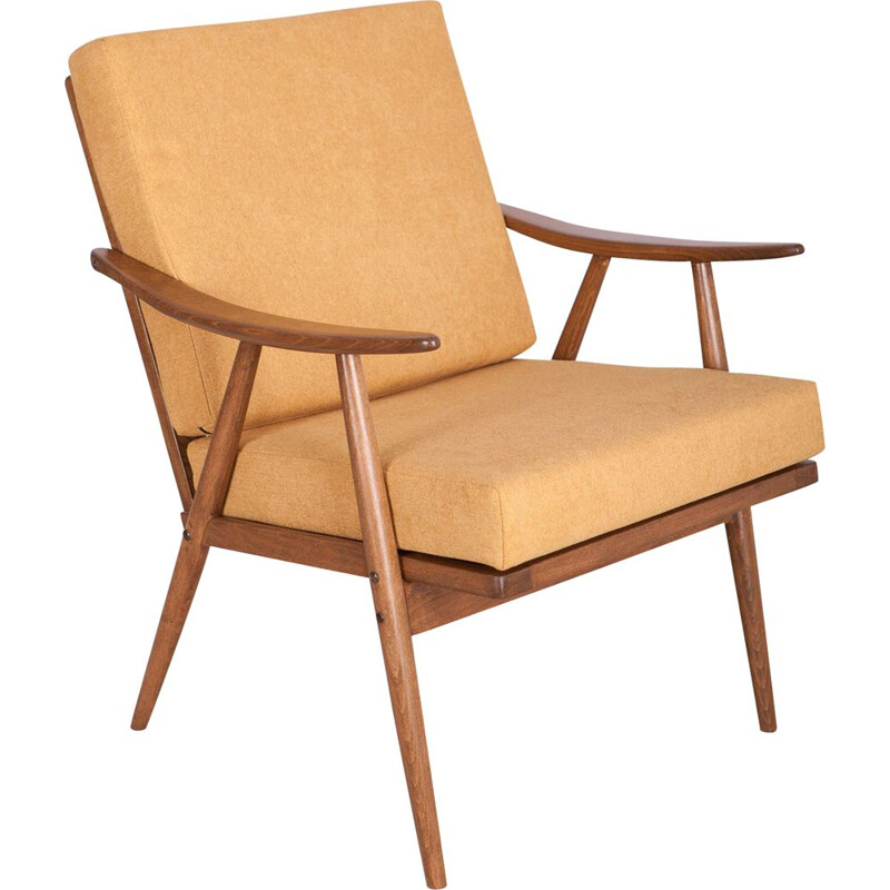 Czech yellow vintage armchair from TON,  1960s