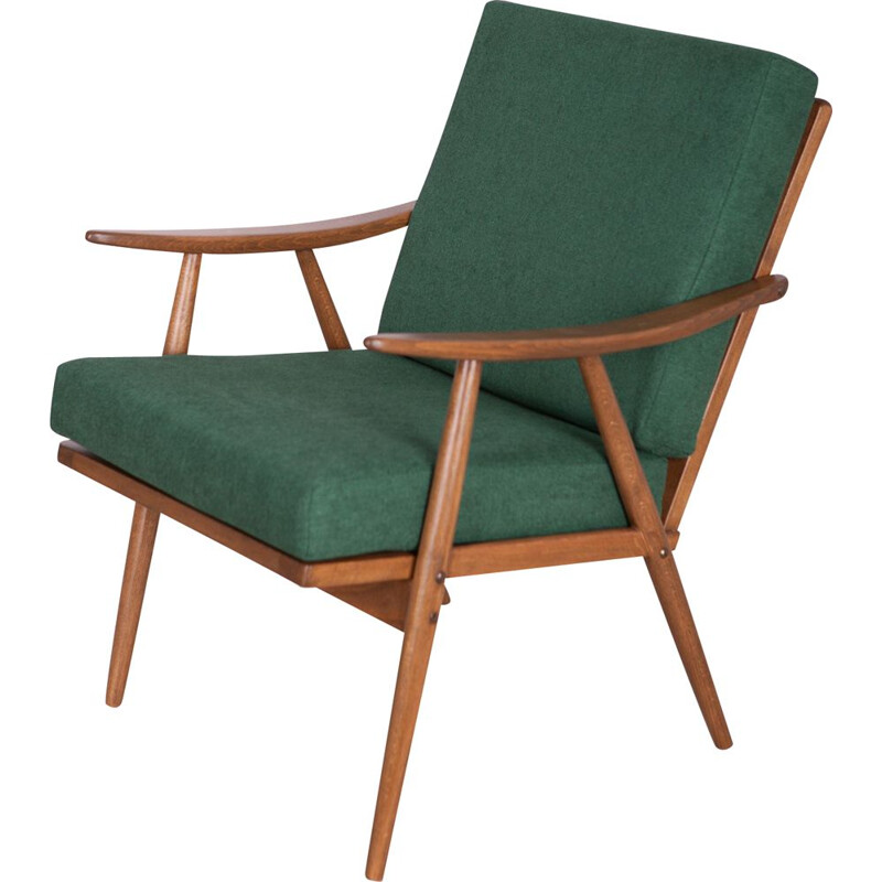 Czech dark green vintage armchair from TON,  1960s