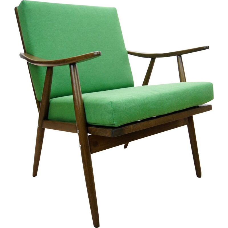 Czech green vintage armchair from TON, 1960s