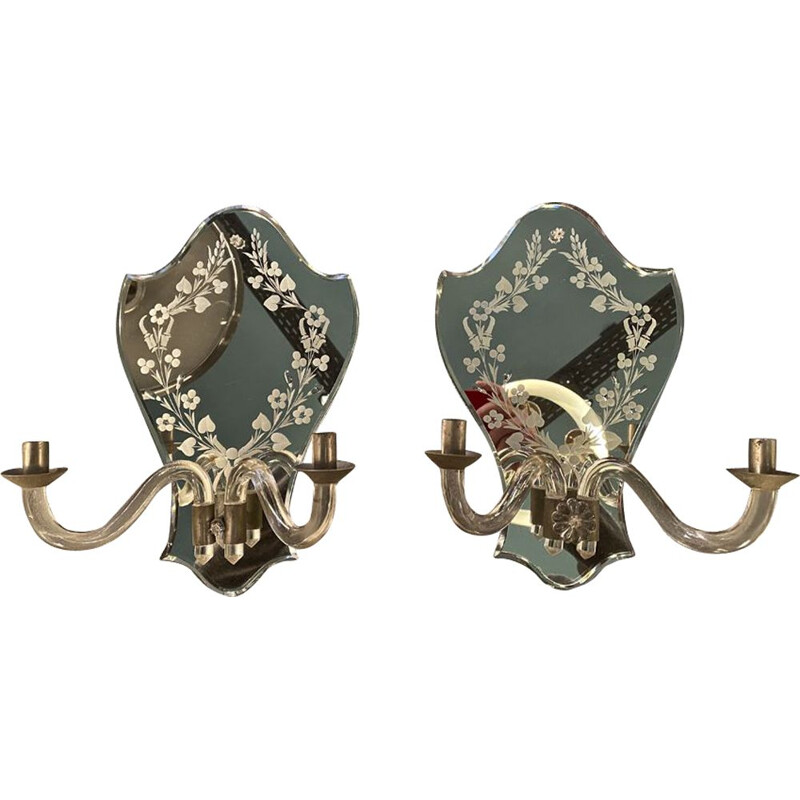 Pair of vintage venetian mirror wall lights