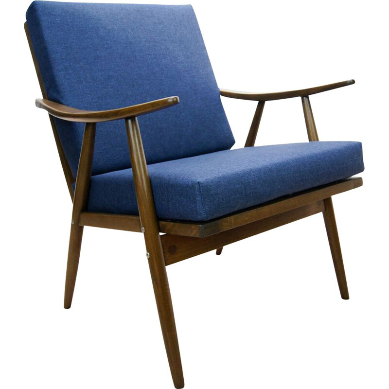 Czech blue vintage armchair from TON, 1960s