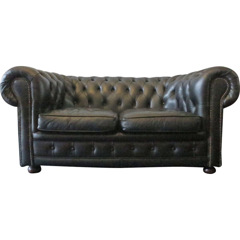 Vintage Chesterfield sofa in black leather