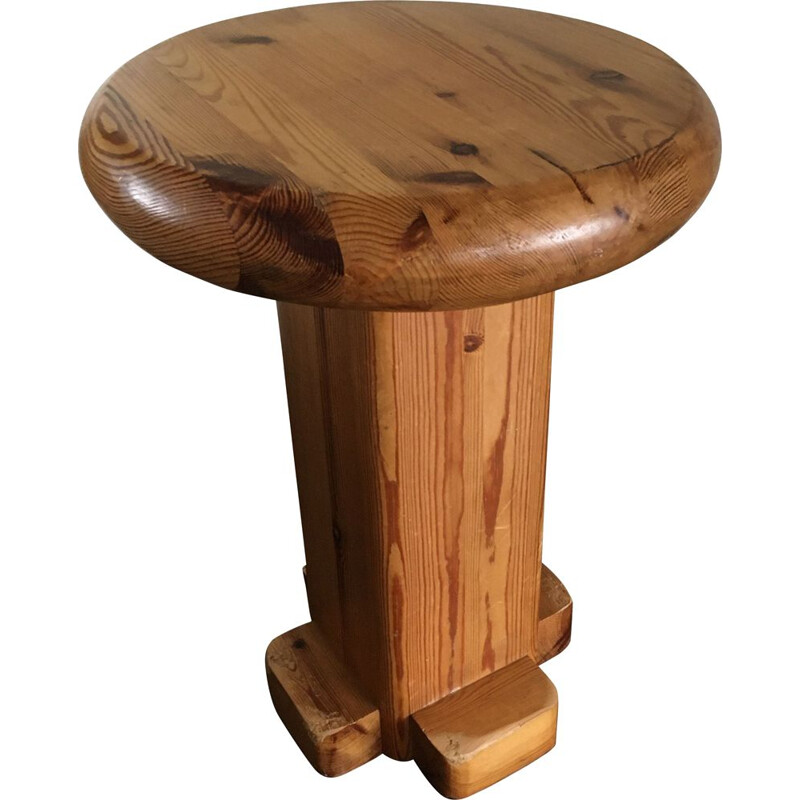Vintage solid wood stool, 1960s