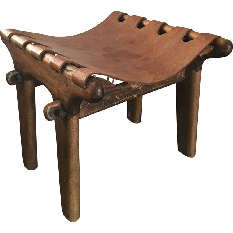 Vintage rustic Ecuadorian leather sling footstool by Angel I. Pazmino, 1960s