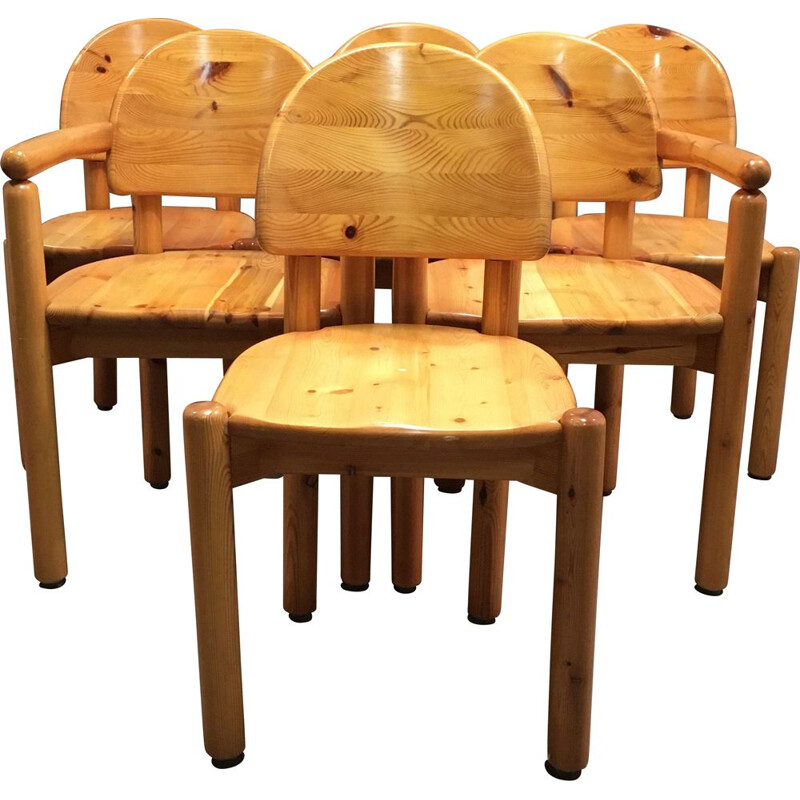 Vintage set of 4 chairs and 2 armchairs Rainer Daumiller, 1970