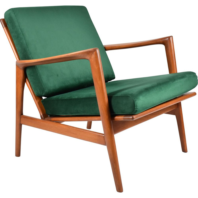 Vintage Scandinavian green bottle armchair type 300-139 by Swarzedzka Furniture Factory , 1960s