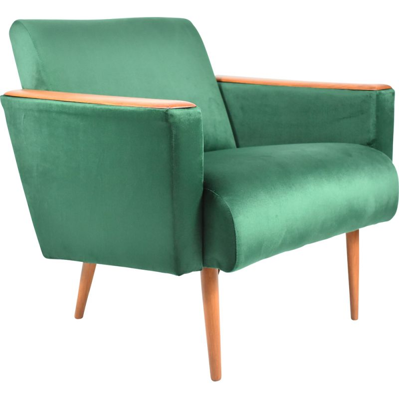 Vintage Polish armchair in green bottle velvet, 1960s