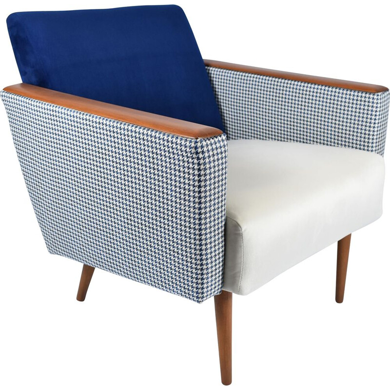 Vintage armchair with pied de poule fabric in beige-blue velvet 1960s