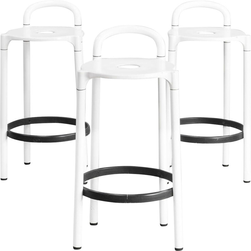 "Vintage set of 3 ""Polo"" stool by Anna Castelli Ferrieri for Kartell 1980"