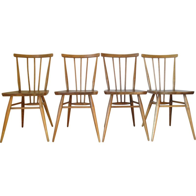 Set of 4 vintage beechwood chairs Ercol