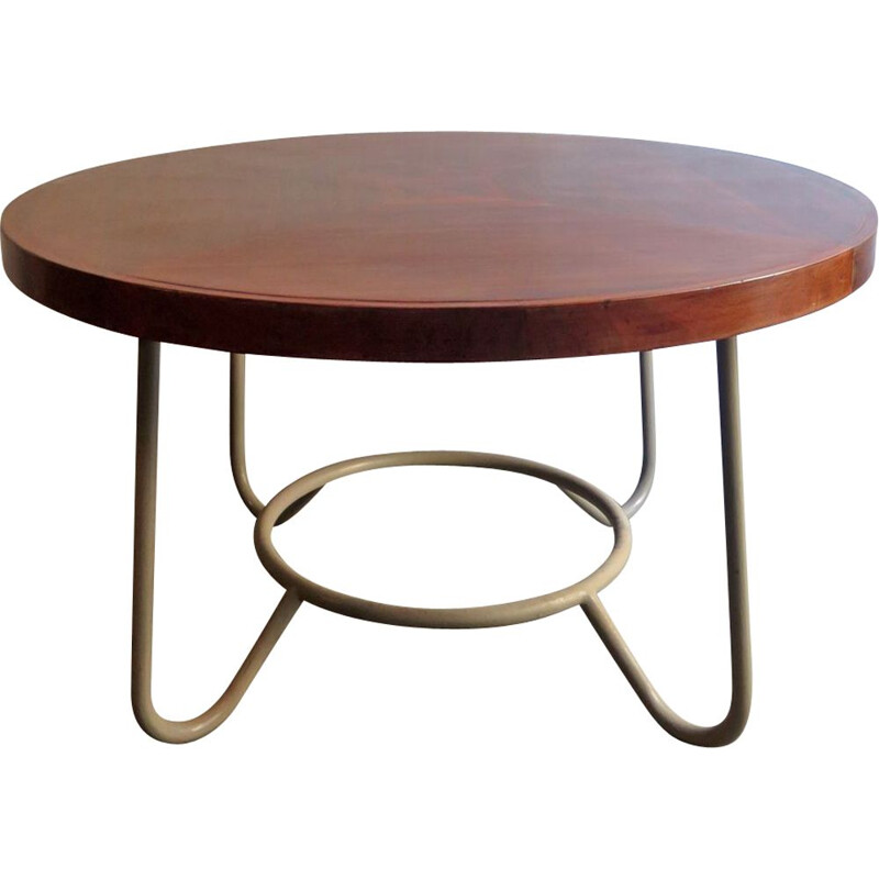 Vintage Bauhaus table in wood and metal 1930