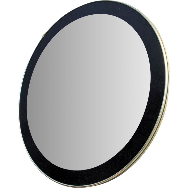 Vintage round mirror with black frame 1960
