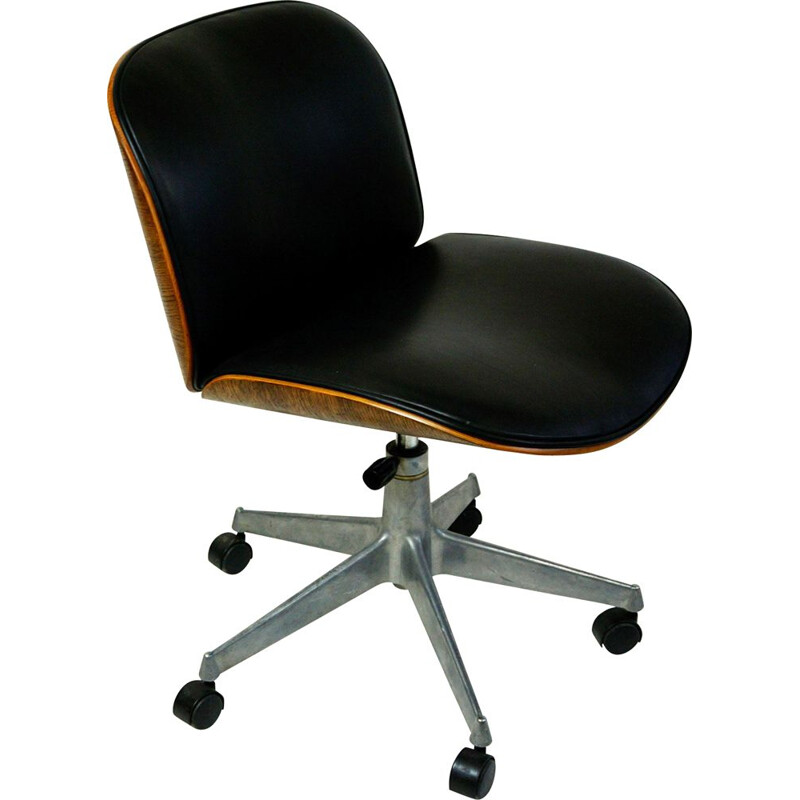 Vintage Italian Black Leather and Oak Office Chair by Ico Parisi for MIM