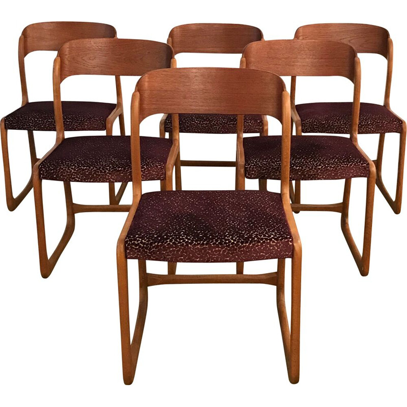 Suite of 6 vintage Traineau chairs by Baumann 1960