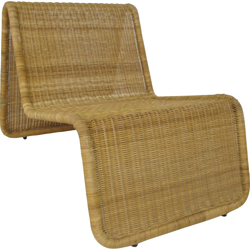 Vintage Rattan lounge chair, by Tito Agnoli, Italy 1960s