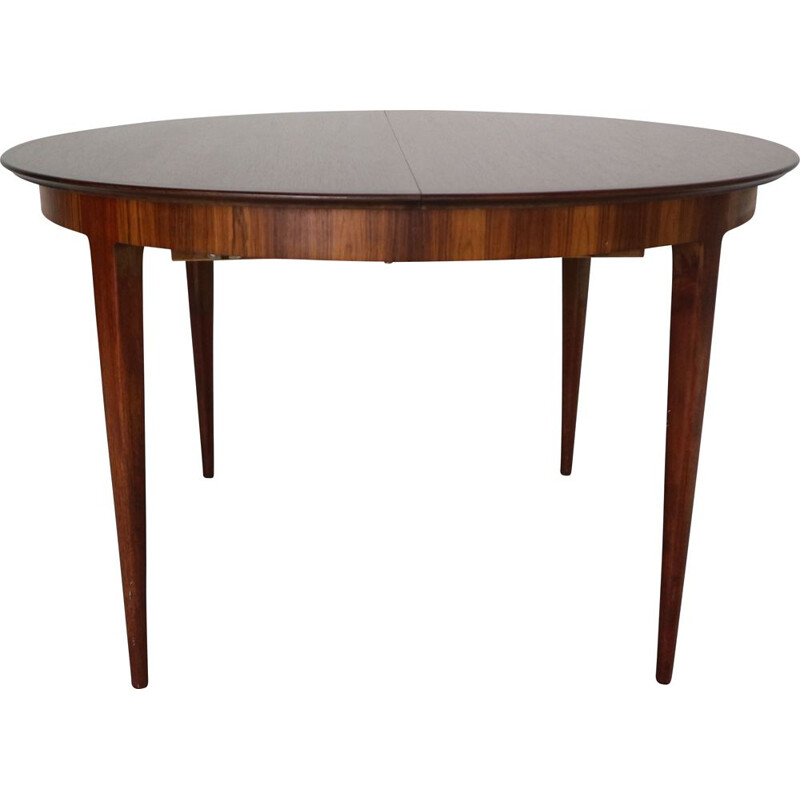 Vintage Scandinavian Extendable Oval Round Dinning Table, 1960 Denmark