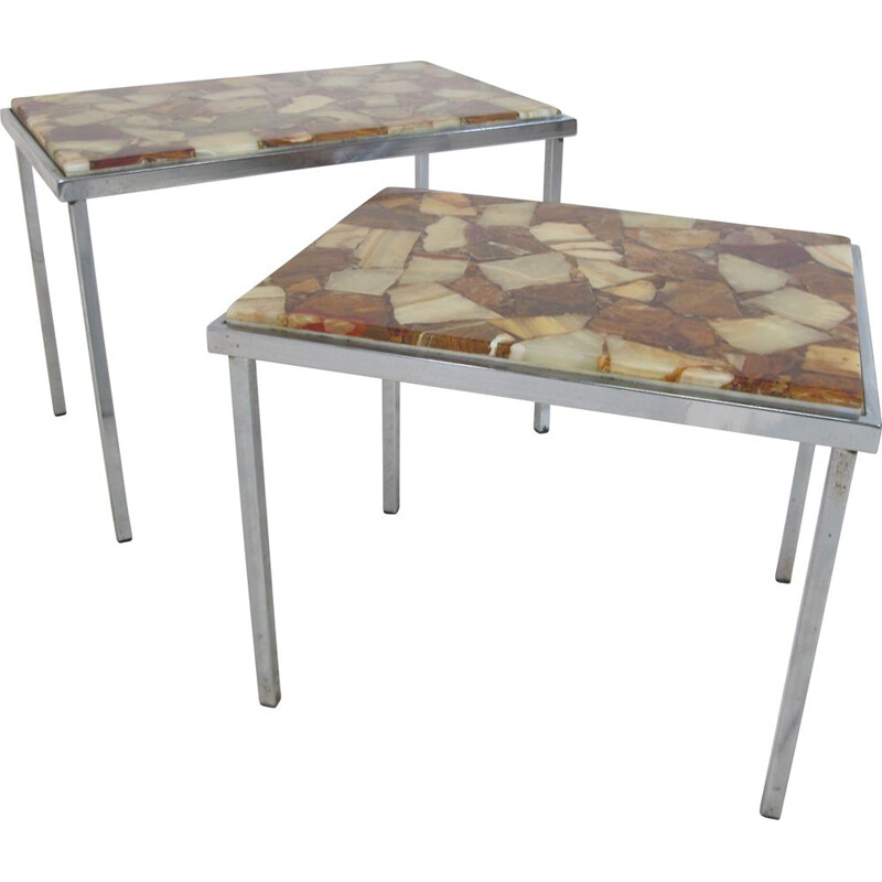 Vintage Hollywood Regency Chrome and Marble Nesting Tables, 1960s