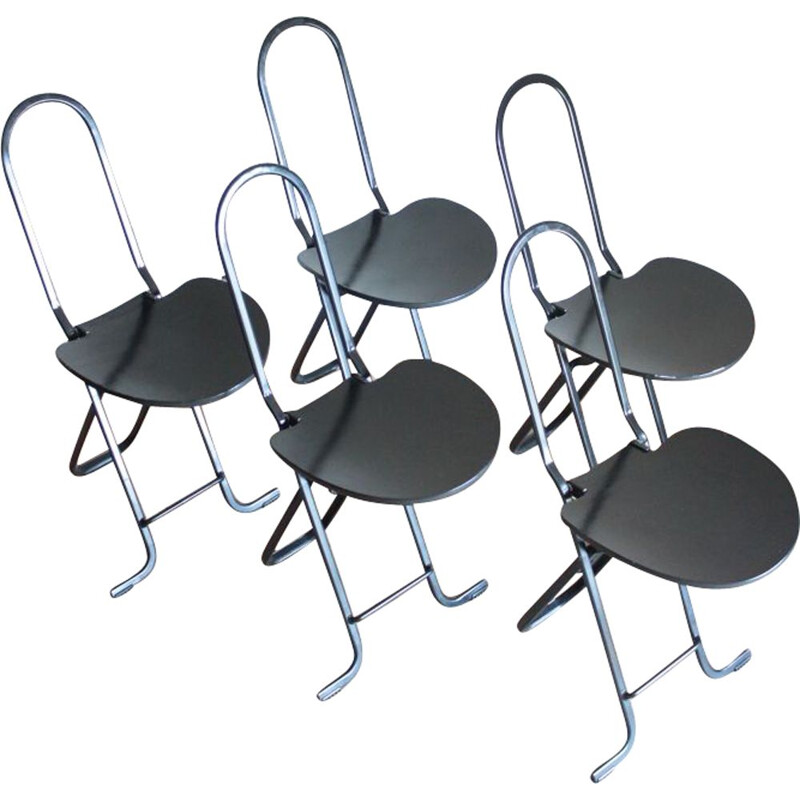 Set of 5 Vintage Folding Chairs by Gastone Rinalde for Thema Italy