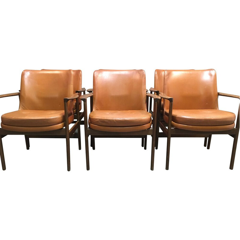 Set of 6 vintage Scandinavian leather armchairs by Kofod Larsen 1950