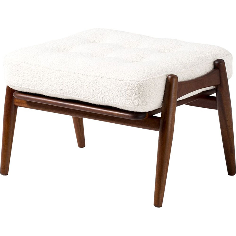 Vintage Boucle and Teak Cigar Ottoman by Hans Wegner, 1955