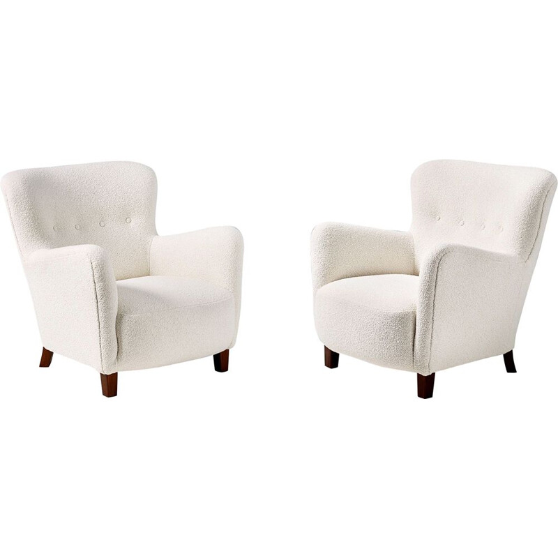 Pair of danish vintage armchairs by Fritz Hansen 1950